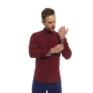 Suslo Couture Men's Romo Burgundy Button Down