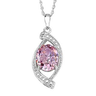 Sterling Silver Pink Cubic Zirconia Pendant