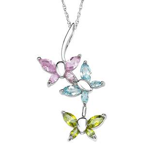 Sterling Silver Cubic Butterfly Pendant