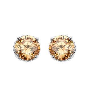 Sterling Silver Champagne Cubic Zirconia Earrings