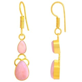 Orchid Jewelry Yellow Gold Overlay 5 49/50ct Pink Opal Dangle Earrings