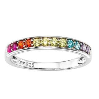 Sterling Silver Multi-Color Cubic Zirconia Ring
