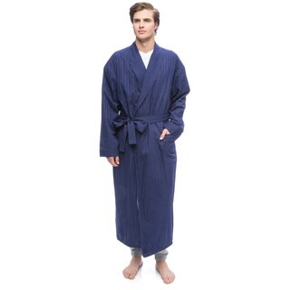 Men's Get the Blues Navy Blue Cotton-blend Terry-lined Shawl Robe