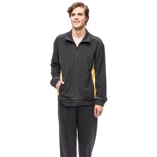 Men's Grey Cotton and Polyester Coastal Capri Knit Zip Set