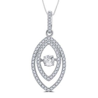 Divina Sterling Silver 1/4ct TGW Cubic Zirconia and Austrian Crystal Fashion Pendant|https://ak1.ostkcdn.com/images/products/11628958/P18563458.jpg?impolicy=medium