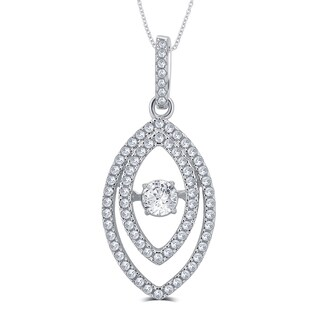 Divina Sterling Silver 1/4ct TGW Cubic Zirconia and Austrian Crystal Fashion Pendant