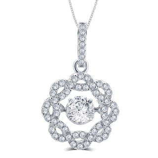 Divina Sterling Silver 3/8ct TGW Cubic Zirconia and Austrian Crystal Fashion Pendant