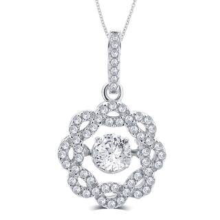 Divina Sterling Silver 3/8ct TGW Cubic Zirconia and Austrian Crystal Fashion Pendant|https://ak1.ostkcdn.com/images/products/11628962/P18563460.jpg?impolicy=medium