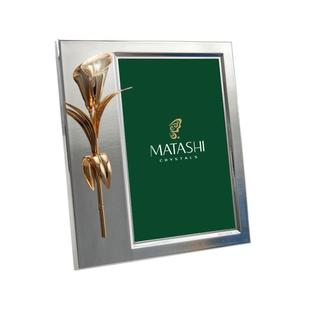 Calla Flower Gold Plated 4x6 Picture Frame Made with Genuine Matashi Crystals