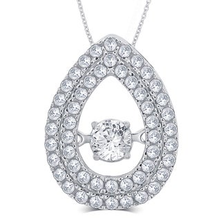 Divina Sterling Silver 1/3ct TGW Cubic Zirconia and Crystal Fashion Pendant