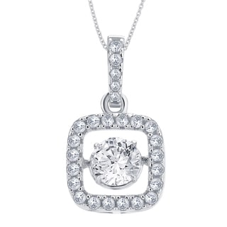 Divina Sterling Silver 1/4ct TGW Cubic Zirconia and Crystal Fashion Pendant