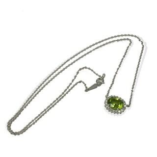 Sonia Bitton 14k White Gold Peridot and Diamond Accent Necklace