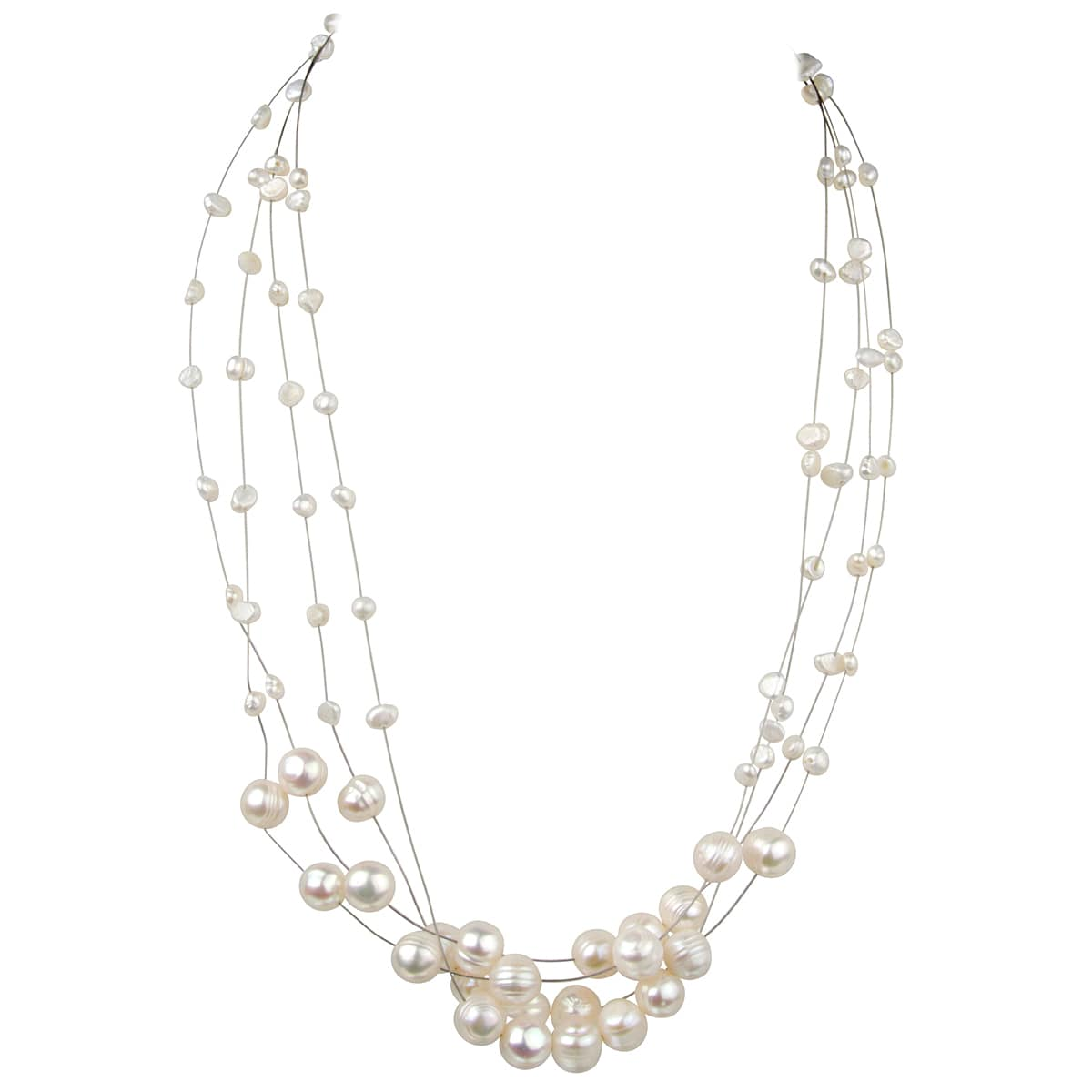 Floating Freshwater Cultured Pearl Necklace (Cultured Pea...