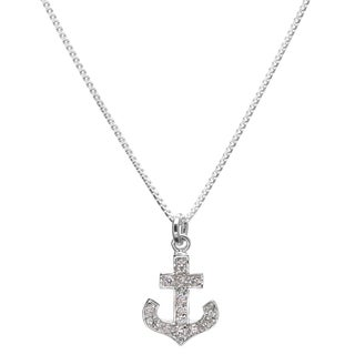 Sterling Silver Cubic Zirconia Anchor Necklace