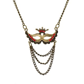 Brass Red Stone Masquerade Charm Necklace