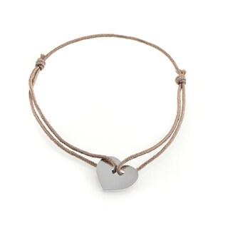 Poiray 18k White Gold Heart Secret Cord Bracelet