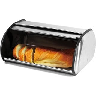 Brushed Stainless Steel Roll Top Large Bread Box