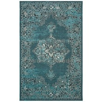 Safavieh Palazzo Black/ Cream/ Turquoise Overdyed Area Rug - 5' x 8'