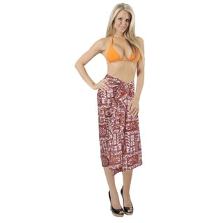 La Leela Hawaiian Hibiscus Hula DancerTurtle Sarong Wrap Red Bikini Cover up