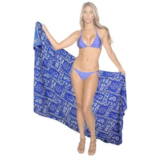 La Leela Soft Smooth Likre Beach Caribbean Swimwear Bikini Beach Skirt Wrap Royal Blue