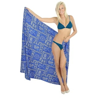 La Leela Soft Smooth Likre Beach Caribbean Swimwear Bikini BEach Skirt Wrap Blue