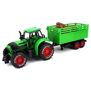 Velocity Toys Farm Tractor Trailer Friction Toy Truck Playset with Animal Figure (Colors May Vary)