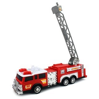 Velocity Toys Fire Rescue FD-28 Toy Fire Truck with Siren Sounds 360-degree Rotating Crane
