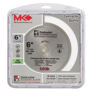"MK Diamond 167566 6"" Continuous Rim Wet Tile Blade"