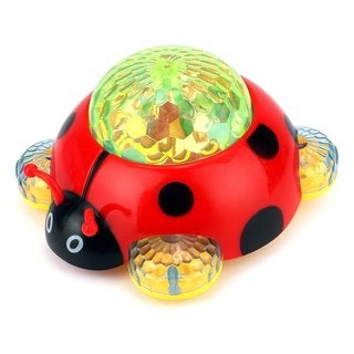 Mother Nature Ladybug Battery Operated Kid's Bump and Go Toy with Fun Flashing Lights, Sounds