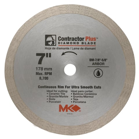 "MK Diamond 167008 7"" Contractor Plus Continuous Rim Tile Blade"