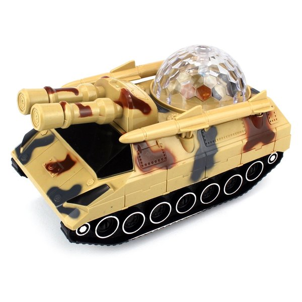 360 Armored Tank Battery Operated Kid's Bump and Go Toy Car with Fun Flashing Lights, Sounds
