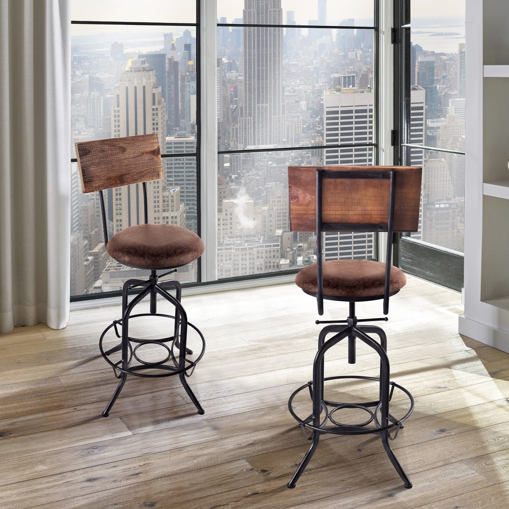 Armen Living  Damian  Industrial Grey Finish with Brown Fabric Seat Adjustable Bar Stool (Brown Fabric)