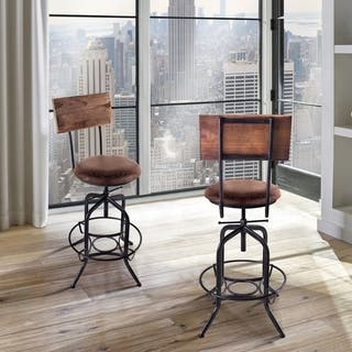 Armen Living Damian Industrial Grey Finish with Brown Fabric Seat Adjustable Bar Stool|https://ak1.ostkcdn.com/images/products/11630212/P18564559.jpg?impolicy=medium