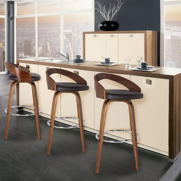 Armen Living Sonia Barstool In Chrome Finish With PU Upholstery And Walnut  Back   Free Shipping Today   Overstock.com   18564670
