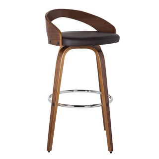 Armen Living Sonia Counter or Bar Height Barstool in Chrome finish with PU upholstery and Walnut Back