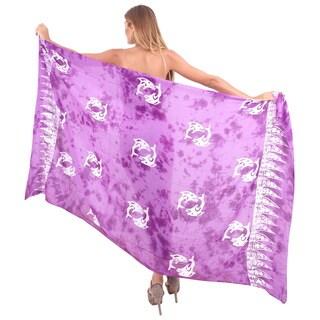 La Leela Swimwear Soft Rayon Cover up Dolphins Bikini Sarong 78X43 Inch Violet
