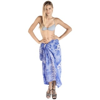 La Leela Swimwear Smooth Rayon Cover up Dolphins Bikini Sarong 78X43 Inch Blue