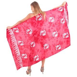 La Leela Swimwear Smooth Rayon Cover up Dolphins Bikini Sarong 78X43 Inch Red