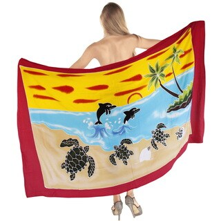 La Leela Soft Rayon Hand Paint Palm Tree Cover up Pareo Bikini 78X43 Inch Red