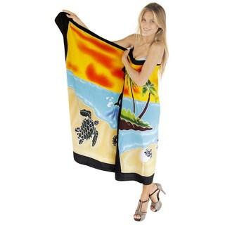 La Leela Soft Rayon Hand Paint Palm Tree Cover up Pareo Bikini 78X43 Inch Black
