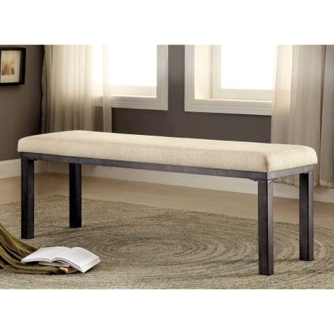 Furniture of America Nax Industrial Grey Fabric Padded Dining Bench