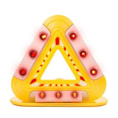Flashing Emergency Triangle - LED Lights Warning Triangle with Magnetic Base - Yellow