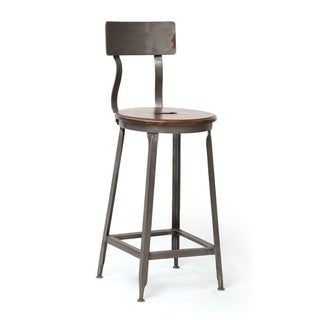 Iron and Wood Curved Stool