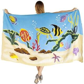La Leela Gentle Rayon Cover up Hand Paint Bikini Skirt Sarong 78X43 In Turquoise