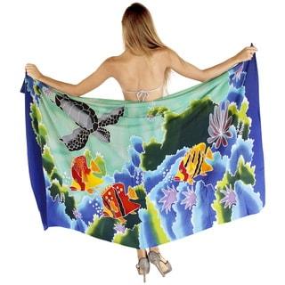 La Leela Smooth Rayon Swimming Fish Cover up Beach Skirt Sarong 78X43Inch Green