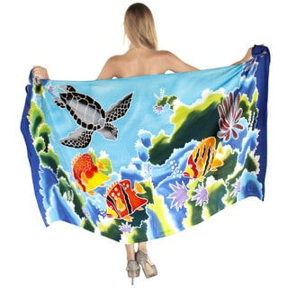 La Leela Smooth Rayon Swimming Beach Hand Paint Sarong 78X43 Inch Wrap Turquoise