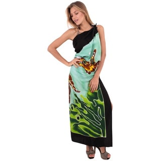 La Leela Gentle Rayon Cover up Hand Paint Turtle Pareo Skirt 78X43 In Wrap Green