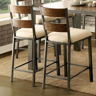 Furniture of America Kesso Industrial Metal 25-inch Counter Height Chair (Set of 2)