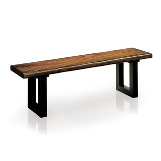 Furniture of America Divo Rustic Oak Solid Wood U-shaped Dining Bench