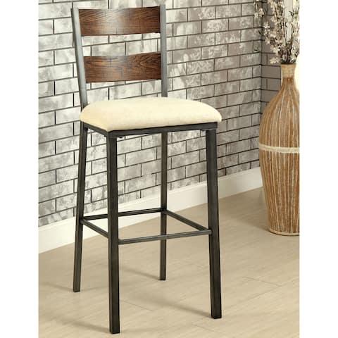 Furniture of America Nax Industrial Oak Fabric Bar Chairs (Set of 2)